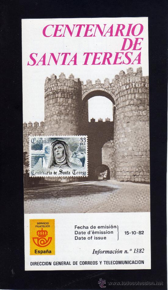 SERVICIO FILATELICO - INFORMACION Nº 13/82 - CENTENARIO DE SANTA TERESA. (Sellos - Material Filatélico - Otros)