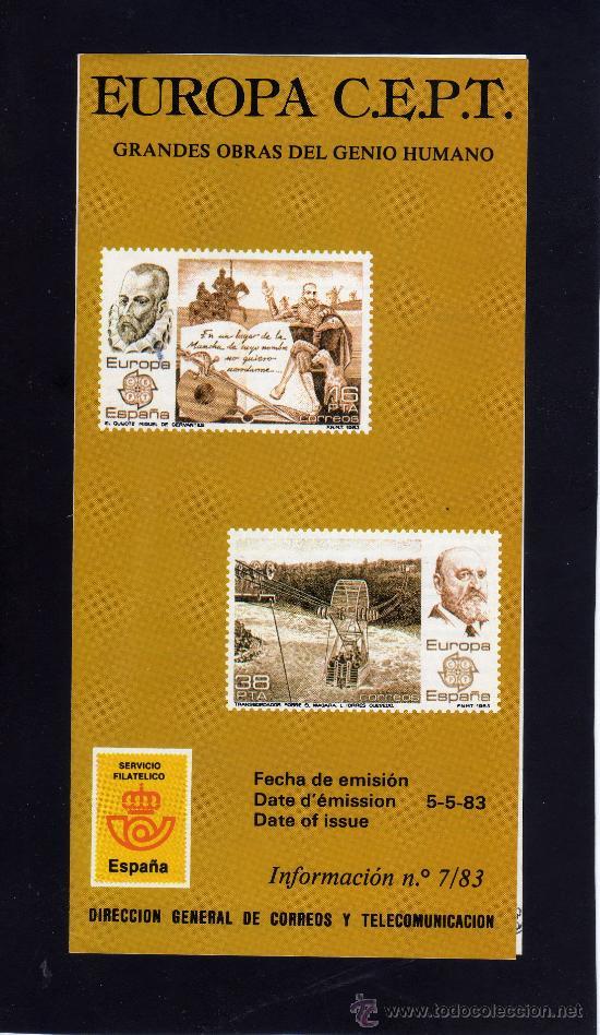 SERVICIO FILATELICO - INFORMACION Nº 7/83 - EUROPA C.E.P.T.. (Sellos - Material Filatélico - Otros)