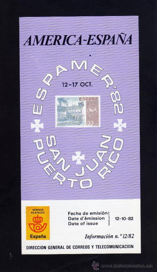 SERVICIO FILATELICO - INFORMACION Nº 12/82 - ESPAMER´82 - SAN JUAN PUERTO RICO. (Sellos - Material Filatélico - Otros)