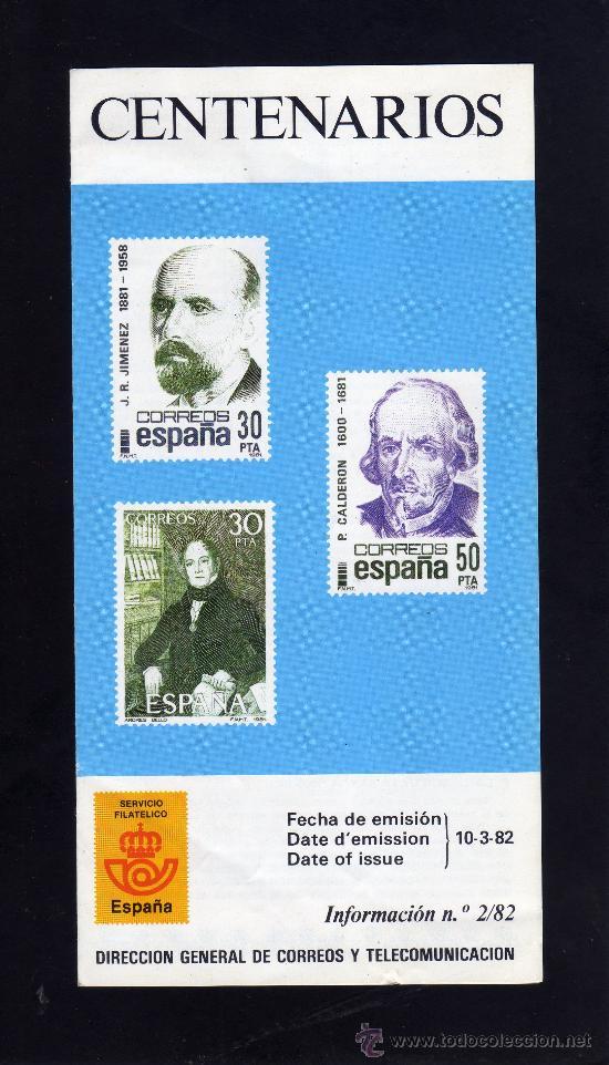 SERVICIO FILATELICO - INFORMACION Nº 2/82 - CENTENARIOS. (Sellos - Material Filatélico - Otros)
