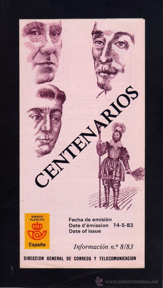 SERVICIO FILATELICO - INFORMACION Nº 8/83 - CENTENARIOS. (Sellos - Material Filatélico - Otros)