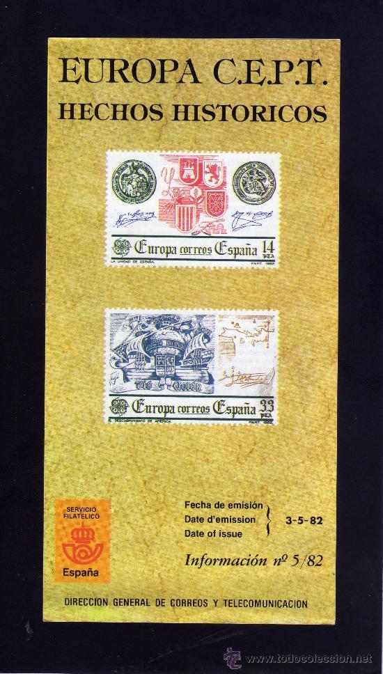 SERVICIO FILATELICO - INFORMACION Nº 5/82 - EUROPA C.E.P.T. - HECHOS HISTORICOS. (Sellos - Material Filatélico - Otros)