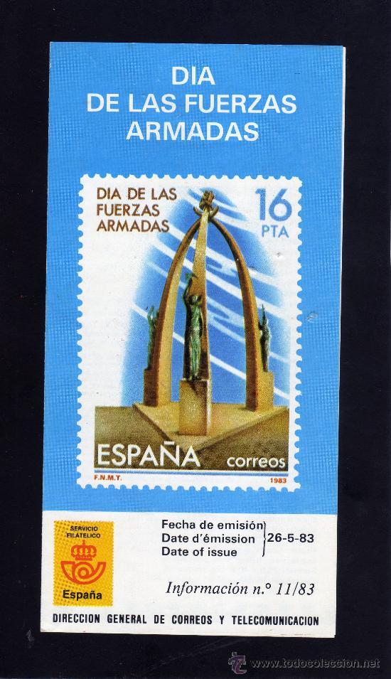 SERVICIO FILATELICO - INFORMACION Nº 11/83 - DIA DE LAS FUERZAS ARMADAS. (Sellos - Material Filatélico - Otros)