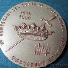 Sellos: MEDALLA FILATELIA XI EXPOSICION SANTO ANGEL CUSTODIO Y VICENTE FERRER 1966 40MM 50GR BARCELONA . Lote 33623842