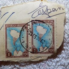 Sellos: SELLO SELLOS , REPUBLICA ARGENTINA 1 PESO , MATASELLADO COMPLETO DE 1953 , SOPORTE ORIGINAL DE USO. Lote 34338915