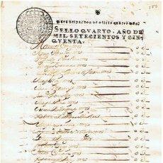 Sellos: TIMBROLOGIA.FERNANDO VI.S QUARTO.4 MARAVEDIS.AÑO 1750. Lote 35242773