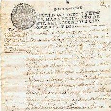 Sellos: TIMBROLOGIA.FERNANDO VI.S QUARTO.20 MARAVEDI.AÑO 1752. Lote 35243268