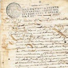 Sellos: TIMBROLOGIA.CARLOS III.S QUARTO.20 MARAVEDIS.AÑO 1762. Lote 35658753