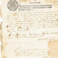Sellos: TIMBROLOGIA.FELIPE IV.S QUARTO.10 MARAVEDIS.AÑO 1652. Lote 35659359
