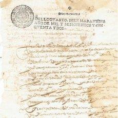 Sellos: TIMBROLOGIA.FELIPE IV.S QUARTO.10 MARAVEDIS.AÑO 1652. Lote 35659408