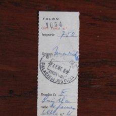Sellos: RESGUARDO GIRO POSTAL. ESTAFETA DEL PALACIO DE JUSTICIA. MADRID. 1969.. Lote 35735993