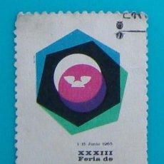 Sellos: SELLO VIÑETA XXXIII FERIA DE BARCELONA 1965, CIRCULADO. Lote 36938071