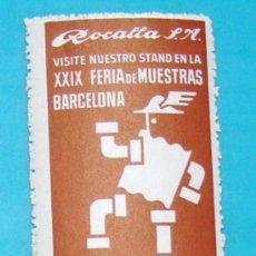 Sellos: SELLO VIÑETA, ROCALLA SA, XXIX FERIA DE MUESTRAS BARCELONA 1961, NUEVO CON GOMA. Lote 36938121
