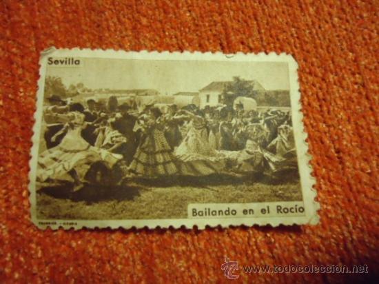 ANTIGUO SELLO DE SEVILLA BAILANDO EN EL ROCIO, FOURNIER - VIRGEN DEL ROCIO (Sellos - Material Filatélico - Otros)