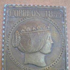 Sellos: PLACA DE BRONCE REPRESENTANDO UN SELLO DE ISABEL II DE 6RS. DE 1853. 8,2 X 6,6 CM.. Lote 39461131