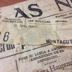 Sellos: EXCEPCIONAL PORTADA ANTIGUO PERIÓDICO LAS NOTICIAS - AÑO 1935 - CON SELLO DE FRANQUEO CONCERTADO . Lote 41514568