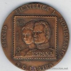 Sellos: MEDALLON 1ER ANIVERSARIO SECCIO FILATELICA 8 - X - 1979 CON SELLO CORREOS 3 PTA FILATELIA EN COBRE P. Lote 43278905