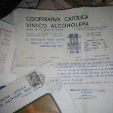 Sellos: CARTA Y SOBRE CON SELLO COOPERATIVA CATOLICA VINO VIINICO ALCHOLERA VILLENA ALICANTE 1942. Lote 43418090