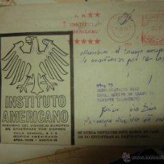 Sellos: INSTITUTO AMERICANO CARTA Y SOBRE CON SELLO TIMBRE CORREOS 1969 ALICANTE. Lote 43665135