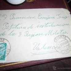 Sellos: JEFATURA INTERVENCION 2ª REGION MILITAR VALENCIA CARTA Y SELLO FRANCO. Lote 43998191