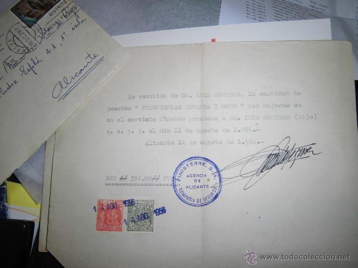 FINISTERRE ALICANTE 1951 CARTA SELLO SOBRE ENTIERRO FUNEBRE (Sellos - Material Filatélico - Otros)