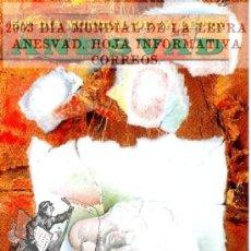 Sellos: 2003 DÍA MUNDIAL DE LA LEPRA ANESVAD. HOJA INFORMATIVA CORREOS FOLLETO POSTAL SERVICIO FILATELICO. Lote 44249378