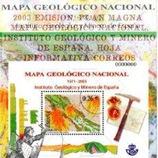 Timbres: 2003 EMISION. PLAN MAGNA MAPA GEOLÓGICO NACIONAL. INSTITUTO GEOLÓGICO Y MINERO DE ESPAÑA. HOJA INFO. Lote 44251887