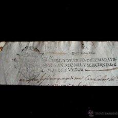 Sellos: 1692 SELLO FISCAL PAPEL TIMBRADO O SELLADO. SELLO 4º. 10 MRS-REINADO CARLOS II-TIMBROLOGIA-CABECERA. Lote 44379629