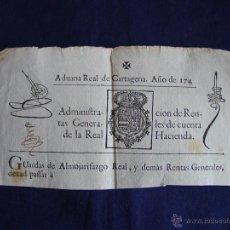 Sellos: 1744 SELLO ADUANA REAL CARTAGENA, GUARDAS DE ALMOJARIFAZGO-REINADO FELIPE V. TIMBROLOGIA. (CABECERA). Lote 44379776