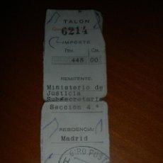 Sellos: ANTIGUO TALON,RESGUARDO DE GIRO POSTAL.REMITE MINISTERIO DE JUSTICIA.. Lote 45971635