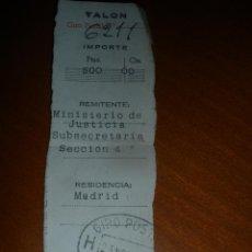 Sellos: ANTIGUO TALON,RESGUARDO DE GIRO POSTAL.REMITE MINISTERIO DE JUSTICIA.AÑO 1951.. Lote 45971676