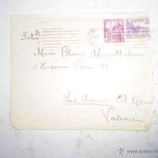 Sellos: RAFAEL REYES TORRENT SOBRE CON SELLOS FRANC GRAO VALENCIA CON VARIAS FIRMAS MANUSCRITAS EN REVERSO. Lote 49644731
