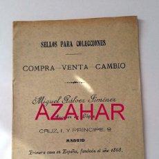 Sellos: ANTIQUISIMA CARTILLA DE SELLOS DE LA FILATELIA GALVEZ, IMPECABLE. Lote 51318796
