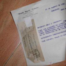 Sellos: CARTA DOCUMENTO VICENTE REGAÑO MAESTRO CAMARDA JEFE FRENTE JUVENTUDES. Lote 52829002