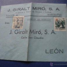 Francobolli: CURIOSO SOBRE,PUBLICIDAD-J.GIRALT MIRO,S.A- CON SELLOS SIN CIRCULAR.LEON-BARCELONA.. Lote 52843322