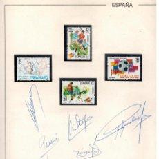 Sellos: HOJA CON SELLOS DEL MUNDIAL FUTBOL 1982 CON AUTOGRAFOS. Lote 52859220