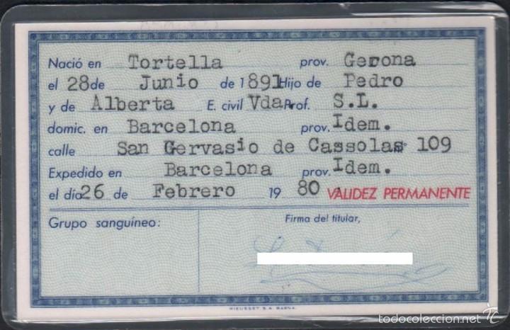 Sellos: DNI 36.220.123 - C10-2 - Carnet de Identidad expedido en BARCELONA el 26 de Febrero de 1980 pertene - Foto 2 - 58218889