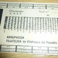 Sellos: ANTIGUO ODONTOMETRO , AGRUPACION FILATELICA VILAFRANCA DEL PANADES 12 / 8 CM CARTULINA . Lote 58504241