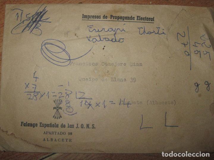 SOBRE ANTIGUO ALBACETE FALANGE DE PROPAGANDA ELECTORAL (Sellos - Material Filatélico - Otros)