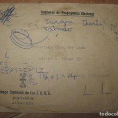Sellos: SOBRE ANTIGUO ALBACETE FALANGE DE PROPAGANDA ELECTORAL. Lote 67409113