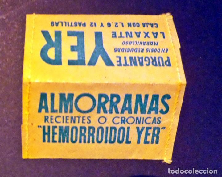 PEQUENO PORTA SELLOS DE PROPAGANDA ALMORANAS HEMORROIDOL Y PURGANTER YER (Sellos - Material Filatélico - Otros)