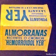 Sellos: PEQUENO PORTA SELLOS DE PROPAGANDA ALMORANAS HEMORROIDOL Y PURGANTER YER. Lote 71077001