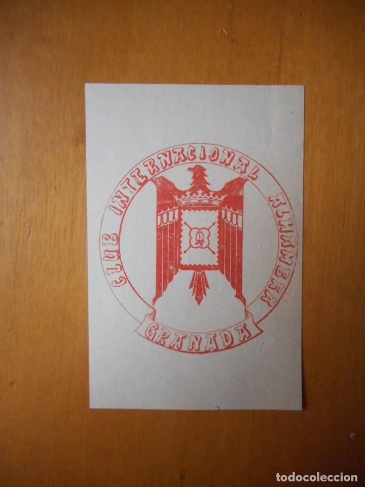 Sellos: Carnet Club Internacional Alhambra, 31 diciembre 1965. Tarjeta de miembro. Raro y difícil - Foto 2 - 76134903