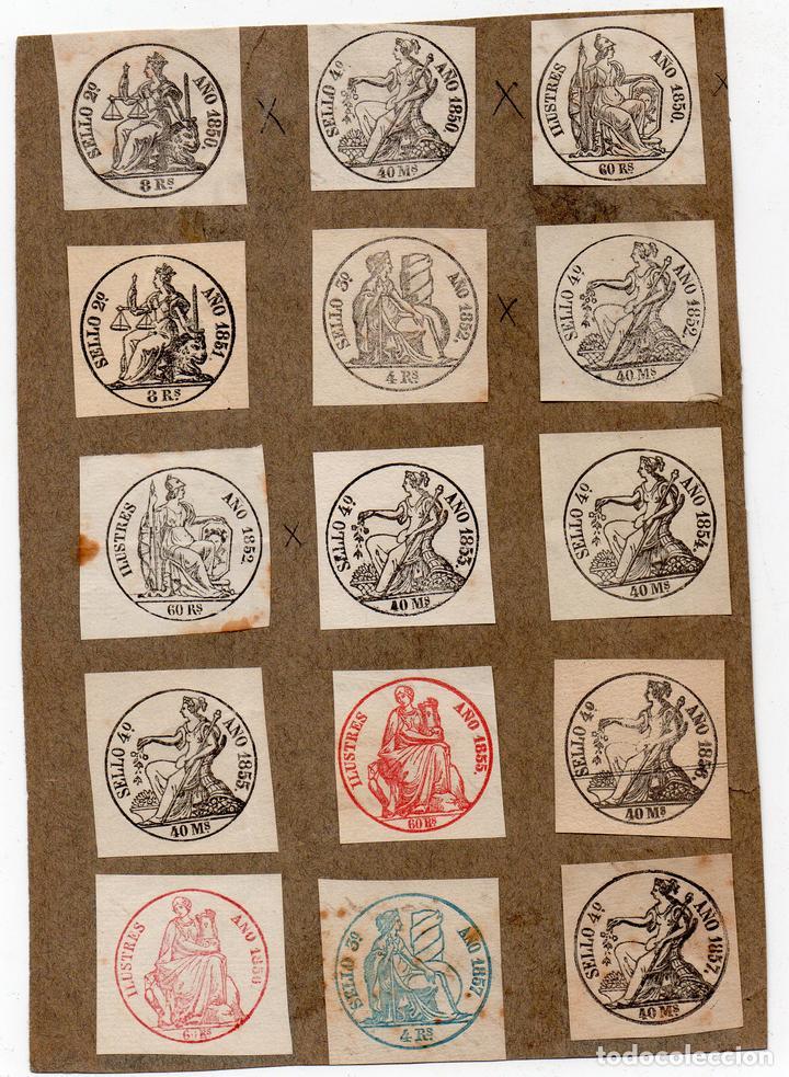 NUM002 LOTE DE 15 SELLOS FISCALES. ESPAÑA. DE 1850 A 1857 (Sellos - Material Filatélico - Otros)