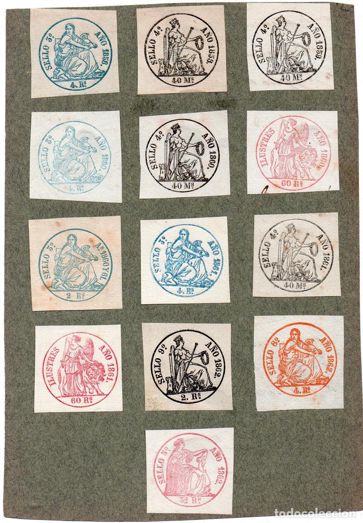 NUM003 LOTE DE 13 SELLOS FISCALES. ESPAÑA. DE 1858 A 1862 (Sellos - Material Filatélico - Otros)