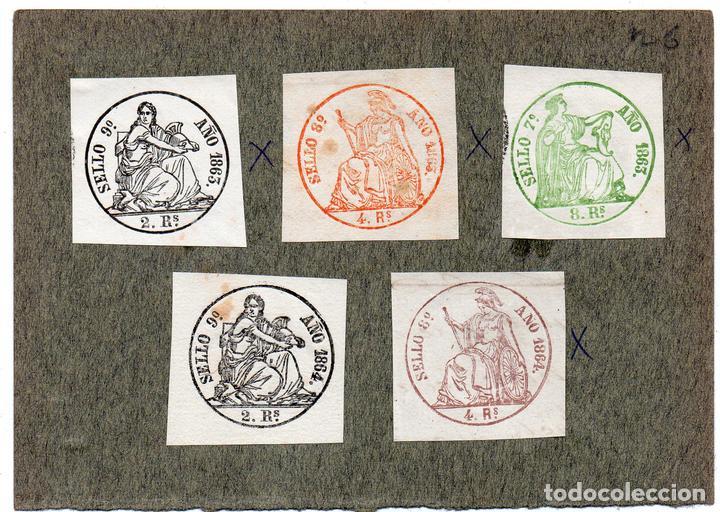 NUM004 LOTE DE 5 SELLOS FISCALES. ESPAÑA. DE 1863 A 1864 (Sellos - Material Filatélico - Otros)