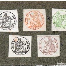 Sellos: NUM004 LOTE DE 5 SELLOS FISCALES. ESPAÑA. DE 1863 A 1864. Lote 86098300