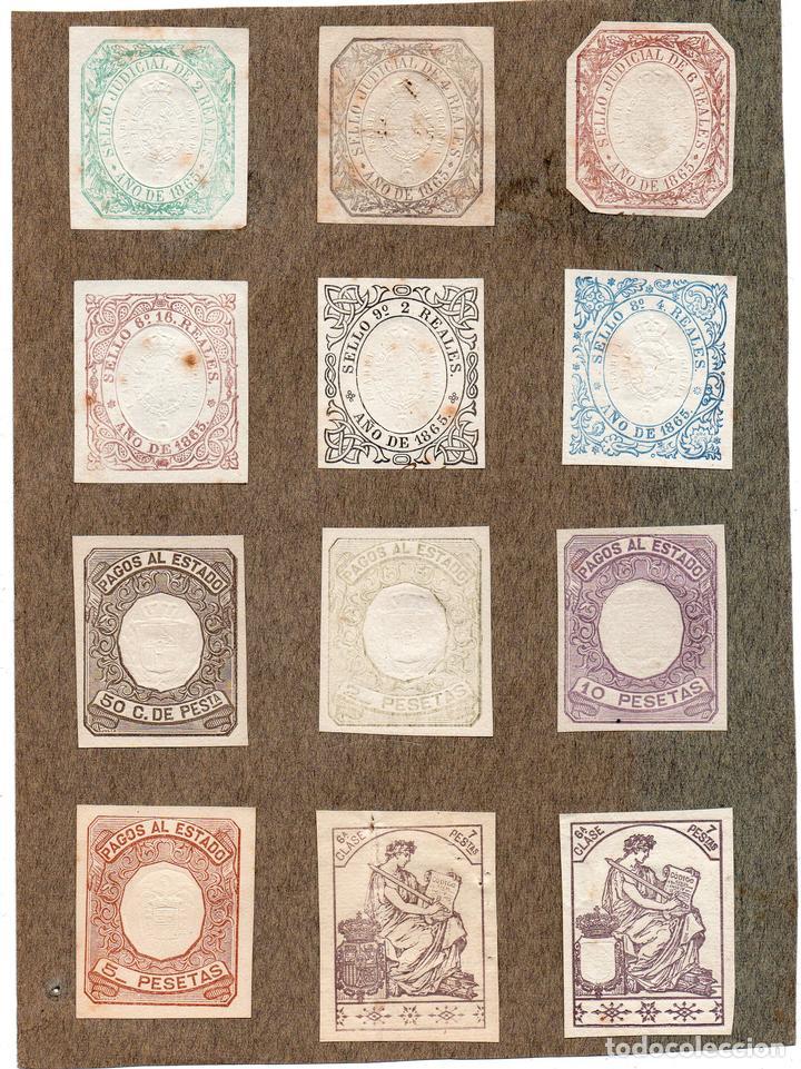 NUM005 LOTE DE 12 SELLOS FISCALES. ESPAÑA. 1865 (Sellos - Material Filatélico - Otros)