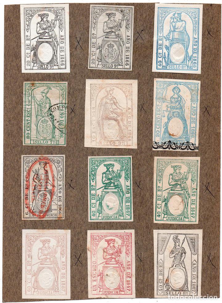 NUM006 LOTE DE 12 SELLOS FISCALES. ESPAÑA. DE 1866 A 1867 (Sellos - Material Filatélico - Otros)