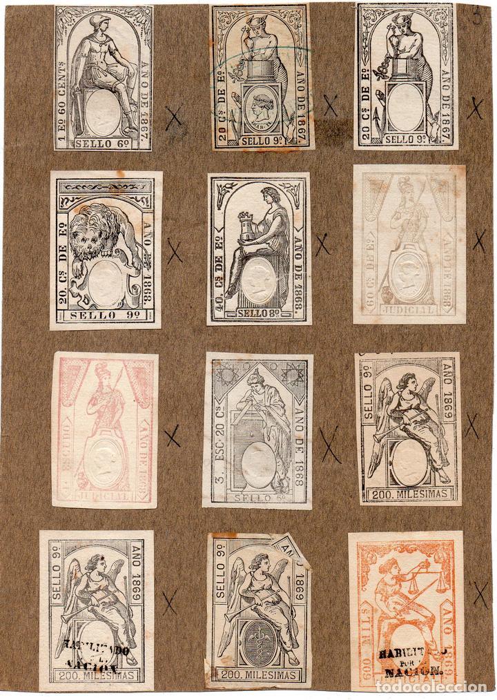 NUM007 LOTE DE 12 SELLOS FISCALES. ESPAÑA. DE 1867 A 1869 (Sellos - Material Filatélico - Otros)